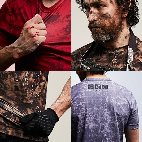 Vollebak: The Blood Salt & Dirt Camo range. The ultimate utilitarian approach to sports clothing. Clothing that's pre-camouflaged for abuse.