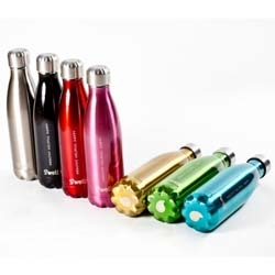 Elegant insulated stainless steel bottles by S'well save plastic bottles and support WaterAid.