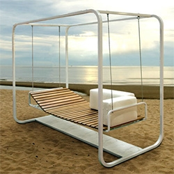 Platoform Arioso Swing - made of teak and steel, you can lay it flat, or adjust the bench curvatures...
