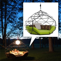 Kodama Zomes - a swinging pod to hang from a tree or  free standing structure. Large enough for multiple people... or even yoga!