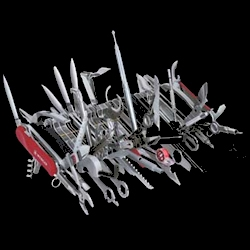 The Giant Collector's Knife. This unique piece contains all 85 tools currently produced by Wenger, makers of the Swiss Army Knife.  It is 9-inches long and weighs 2-pounds.