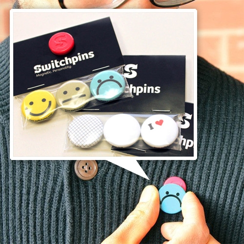 Switchpins from Fair Goods for the commitmentphobe or ever changing pin lovers. Just swap the one-inch buttons on the magnetic base.