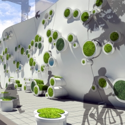 The Symbiotic Green Wall takes the idea of wall beyond its dividing role. It provides a vertical system for an entire ecosystem to exist.
