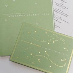 Program, invite, and menu for the Vancouver Symphony Orchestra by designer Paula Lukey, made with a sensual green and gold leaf in a fabulously fine type setting.