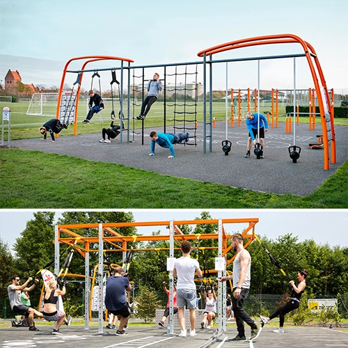 Kompan Sport Training Systems take modular outdoor park equipment to a whole new level in both design and function. There are even apps to help lead people through the exercises properly.