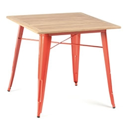Four Square Table from Industry West ~ love the bold metal legs (available in a rainbow of colors!) in contrast with the teak top!