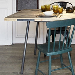 Palox table by Cigue.  Untreated oak top, solid steel legs. Hand-made in France