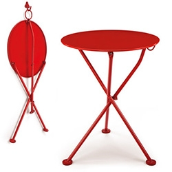 Nice simple red Steel Balcony Folding Table from Manufactum.