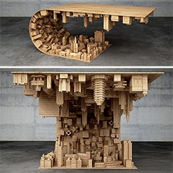 Wave City Coffee Table by Stelios Mousarris. Inspired by Inception, and made of wood, steel and 3D printed technology.