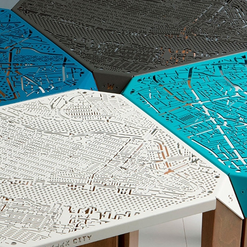 Map on Table by Hasan Agar - London and New York City streets are laser cut into metal side table tops. Flat packed, simply screw the wooden legs on. Currently on Kickstarter.