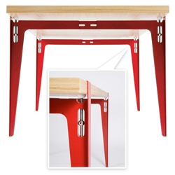 tréteau by philippe nigro ~ brilliant table system, where the legs can be adjusted to lock on to table tops of nearly any size... love the contrast of the red to the wood, and the spherical vice like adjusters...