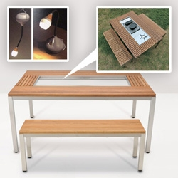 Snow Peak ~ multipurpose camping goods perfect for home and vice versa. The modular cooking setups can dock right into a garden table! The lamps are incredibly versatile, and check out the folding bamboo table.