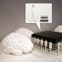 HUGE brain and microchip coffe table/ottomans (?) by Daniel Rohr ~ limited edition, and displayed with brain scans projected above!