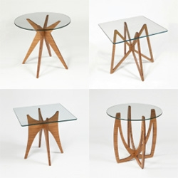 Dock 312 Side Tables - Flat packed and made of glass and bamboo plywood
