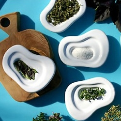 Designed by mary judge, these little organically shaped dishes transform the way you serve condiments, salt and sauces on the table.