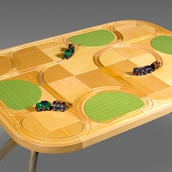 TrackTile tables are a clever spin on children's train toys and the dinner table.