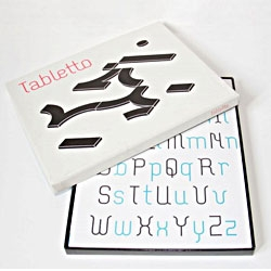 Tabletto by Thomas Dahm is a typographical game consisting of ten shapes, with which you can design any letterforms, numbers and punctuations in all languages.