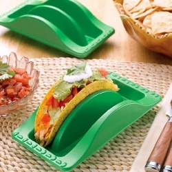 Finally: a Taco plate that preents messes and holdes Tacos while you eat them.