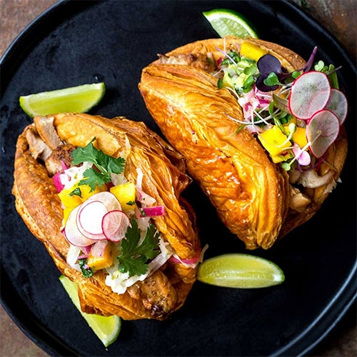 Tacro = Croissant Taco! Tasting Table shares the new mashup from Belgian husband-and-wife team Arnaud Goethals and Julie Vandermeersch of Vive la Tarte bakery in San Francisco.