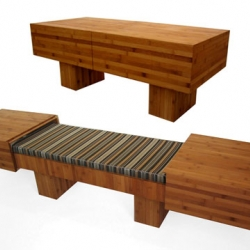 I don't know why I'm just discovering this, but I love.  Akemi Tenaka's Tagei eco-friendly, convertible coffee table/bench.