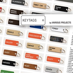 Keytags by Various Projects. While they aren't the hardest to make... i love the way the executed the idea! So fun to read through the excessive variety of words they've picked!