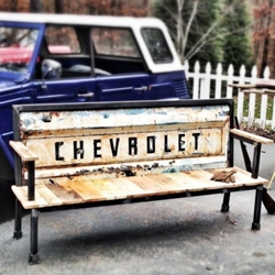 'Blue Collar Bench' made out of old tailgates by Yesterday Reclaimed.