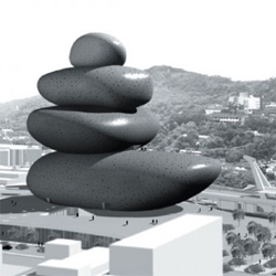 Francois Blanciak's proposal for the Taipei Performing Arts Center competition is as simple as stacked pebbles.