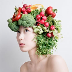 Vegetable headwear by Japanese artist Takaya.