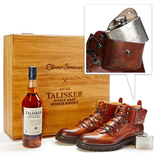 Oliver Sweeney x Talisker Limited edition 'Made by The Sea' Gift Set. The boots have a unique flask pocket complete with 2oz etched sterling silver flask, the sole includes a piece of cask wood, and there's a compass built in as well.