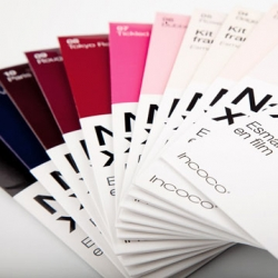 Lovely package for self-stick Nail Xpress nail polish strips by Talking design studio. I love the 'pantone' look.