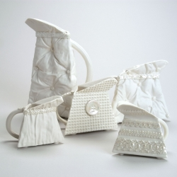 Fantastic porcelain made to look like textured fabrics. So luxurious.