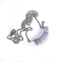 Portland artist/designer Stephanie Simek's Tammy Faye Necklace uses real human hair and sterling silver...and it freaks me out. [Also NotCouture #747]
