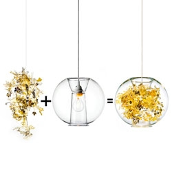 Tangle Globe Pendant Light by Tord Boontje, a new glass design for Artecnica that combines clear glass and etched metal.