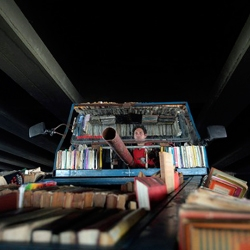 Raul Lemesoff's book-tank is a mobile work of art and advocacy for peace and literacy.