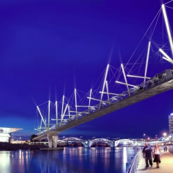 The first ever tensegrity pedestrian bridge is being constructed in Brisbane's inner city (Australia). A great achievement from an architectural point of view as well as engineering.