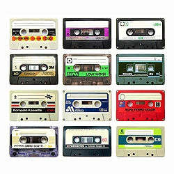 Analog audio tape cassette nostalgia.