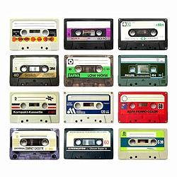 Analog audio tape cassette nostalgia. Beautiful collection of 138 audio tape cassette.