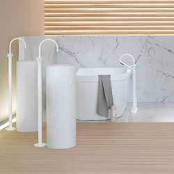 The 'Tara Refined' collection of taps, bath, shower and accessories from Dornbracht offers chic monochrome luxury with unique floor standing designs and sumptuous matt-white and black finishes ...