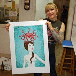 Juxtapoz has a great step by step article on Tara McPherson's latest print, in all its 18 layer glory. Sadly the entire print run sold out in less time it took to get to layer 3