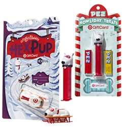 Target always has fun holiday gift cards ~ this year they teamed up with HexBug (for their dog on a sleigh!) and Pez!