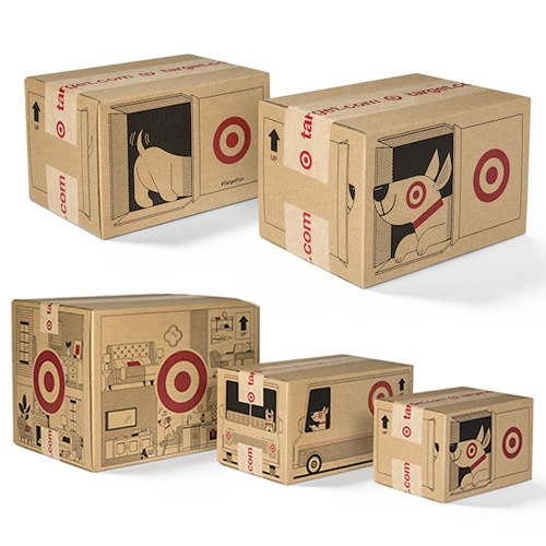Target's new shipping boxes (launching holiday 2018) are adorable! They feature Bullseye, pulling up in a Target delivery truck; Bullseye scampering around the house; and Bullseye peeking out of a Target box.