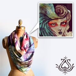 Sara Blake (aka ZSO)'s stunning Tantrum Silk Scarf. In a limited edition run of 50, take a look at the beautiful details!