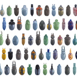 Glazed porcelain vases shaped like all sorts of funky bugs and beetles.