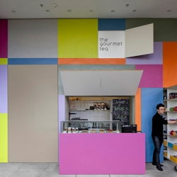 Brazilian architect Alan Chu's charming design for a secret tea shop in Sao Paulo integrates playfulness with functionality.