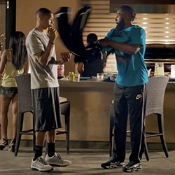 """Hilarious Foot Locker Tear Away ad - """"James Harden likes to keep his Approved Foot Locker gear fresh. Russell Westbrook tests the limits of that dedication"""""""