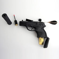 Ted Noten's 'Necessities for a Woman (to Feel Like a Woman Through the Eyes of a Man)' includes parts of guns made from 3-D printed nylon loaded with cosmetics, hairpins, USBs and pharmaceuticals.