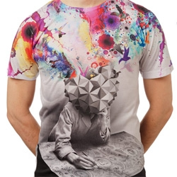 Imaginary Foundations new IFS107: Study Tee ~ love the grey toned geometrically headed thinker exploding with colorful ideas.