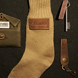 From the gift guide, this Temple Bags stocking stuffer bundles a few of their finer trinkets in a WWII-era military sock.