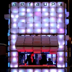 For the contest that invited students to think of a temporary bar to represent their institution as an outstanding architectural object, designers Diogo Aguiar and Teresa Otto came up with a temporary bar made of 420 IKEA storage boxes.