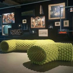 Tejo Remy and Rene VeenHuizen's tennis ball benches for the Museum Boijmans Van Beuningen in Rotterdam.